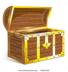Image: A Wood Chest with Gold Trim.
