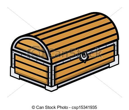 Vectors of Ancient Treasure Wooden Trunk.
