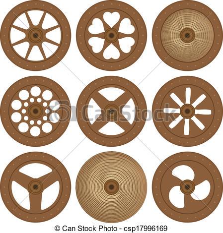 Clip Art Vector of Wooden wheels csp17996169.
