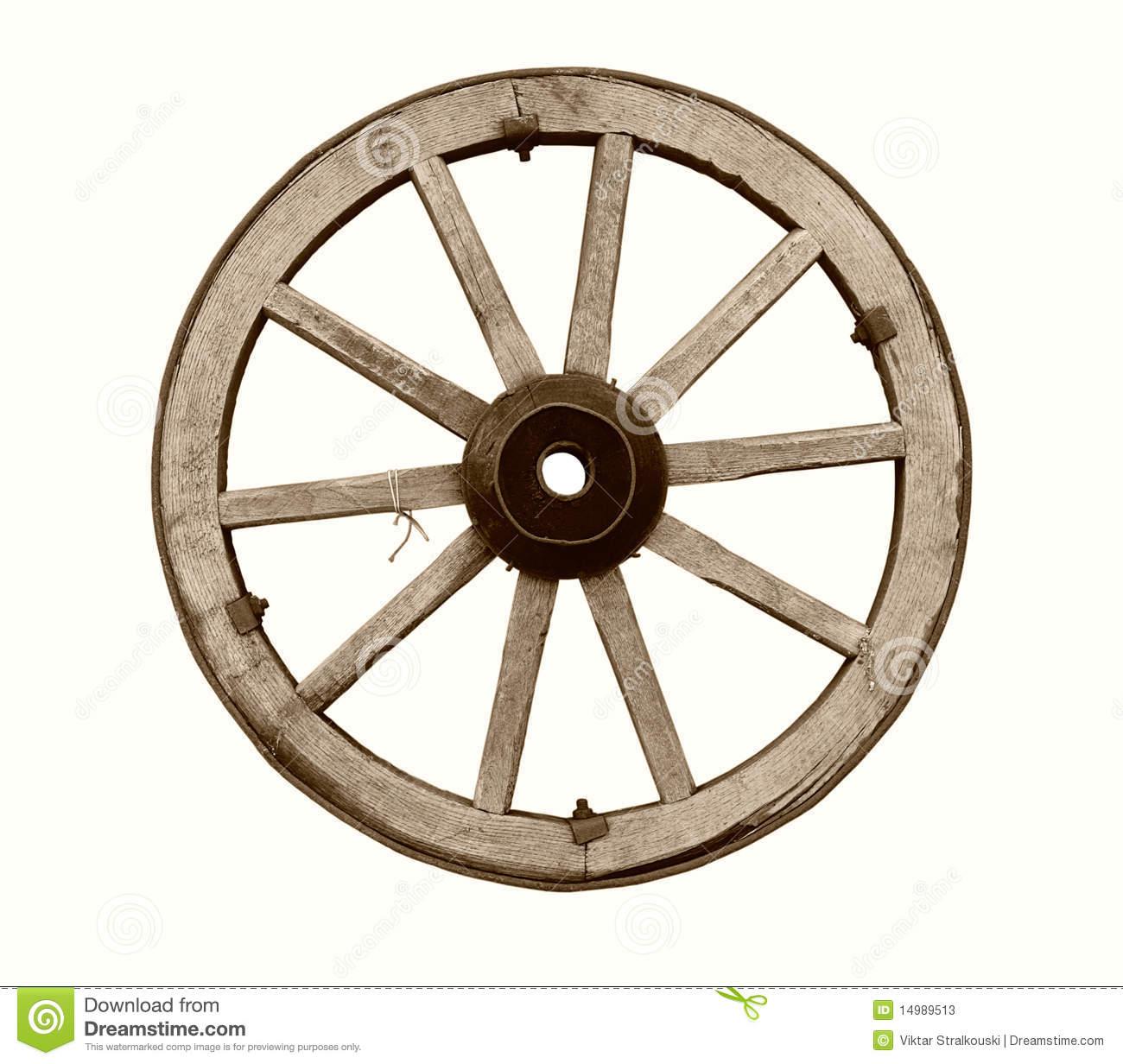 Vintage Wooden Wagon Wheel Isolated. Stock Photo.