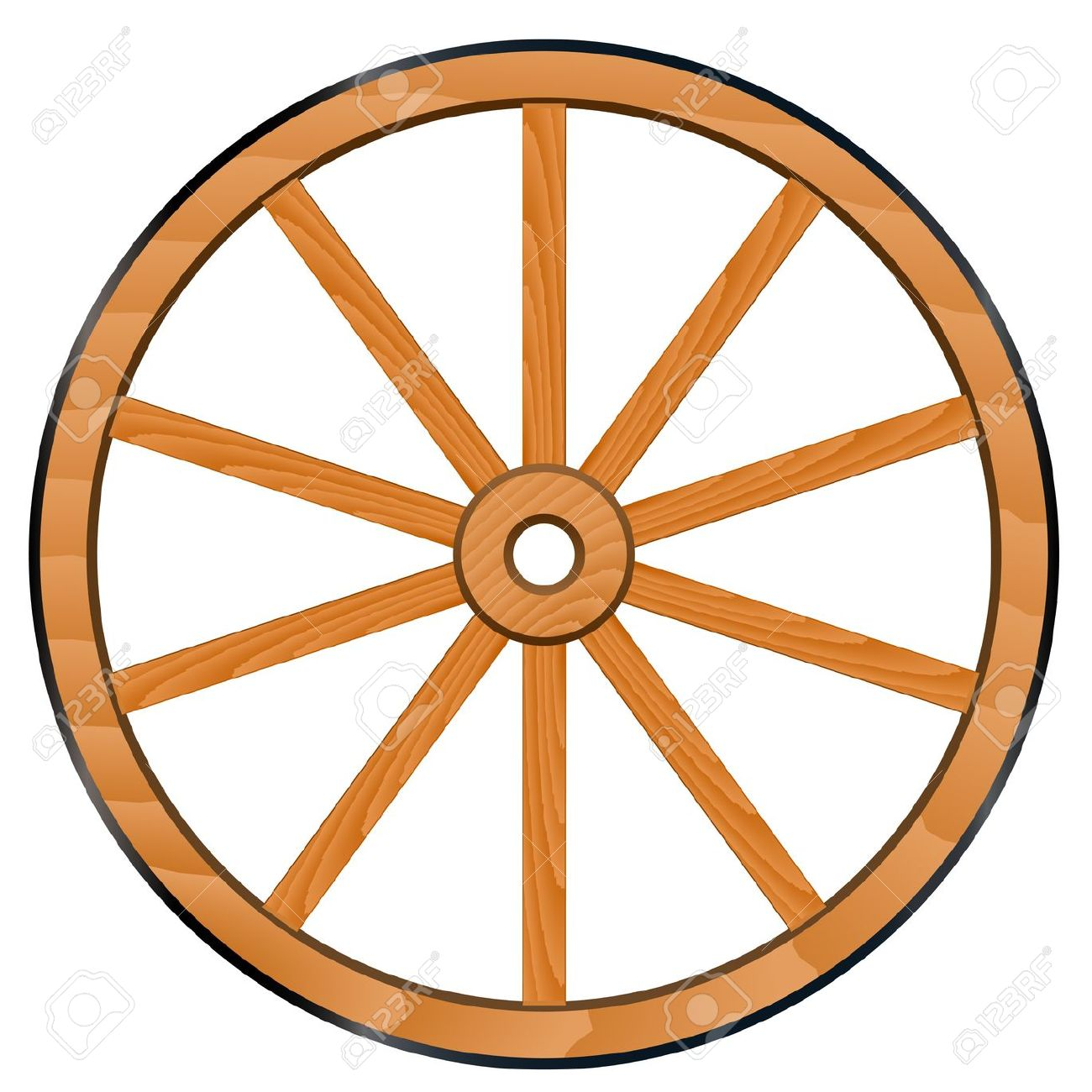 Color wagon wheel clipart.