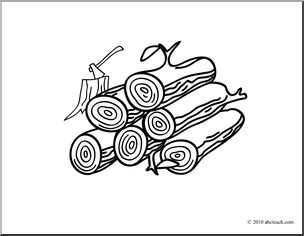 Clip Art: Basic Words: Wood (coloring page).