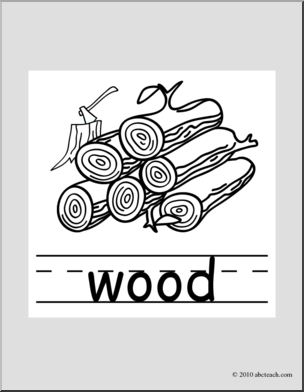 Clip Art: Basic Words: Wood B&W (poster).