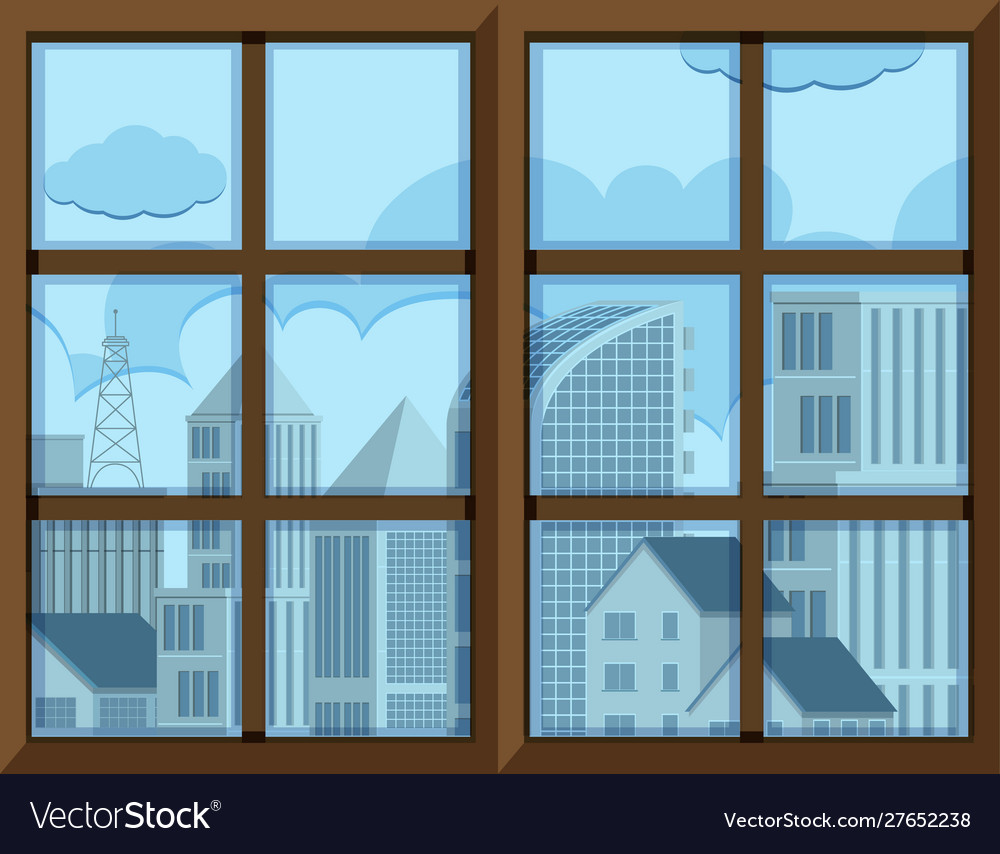 Window frame template with outside view.