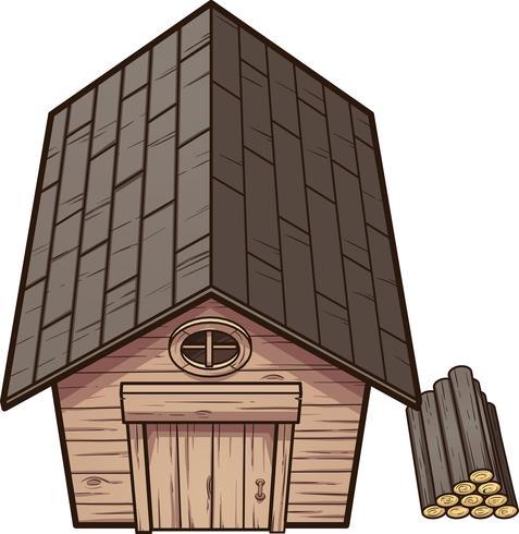 Cartoon Wood Cabin.