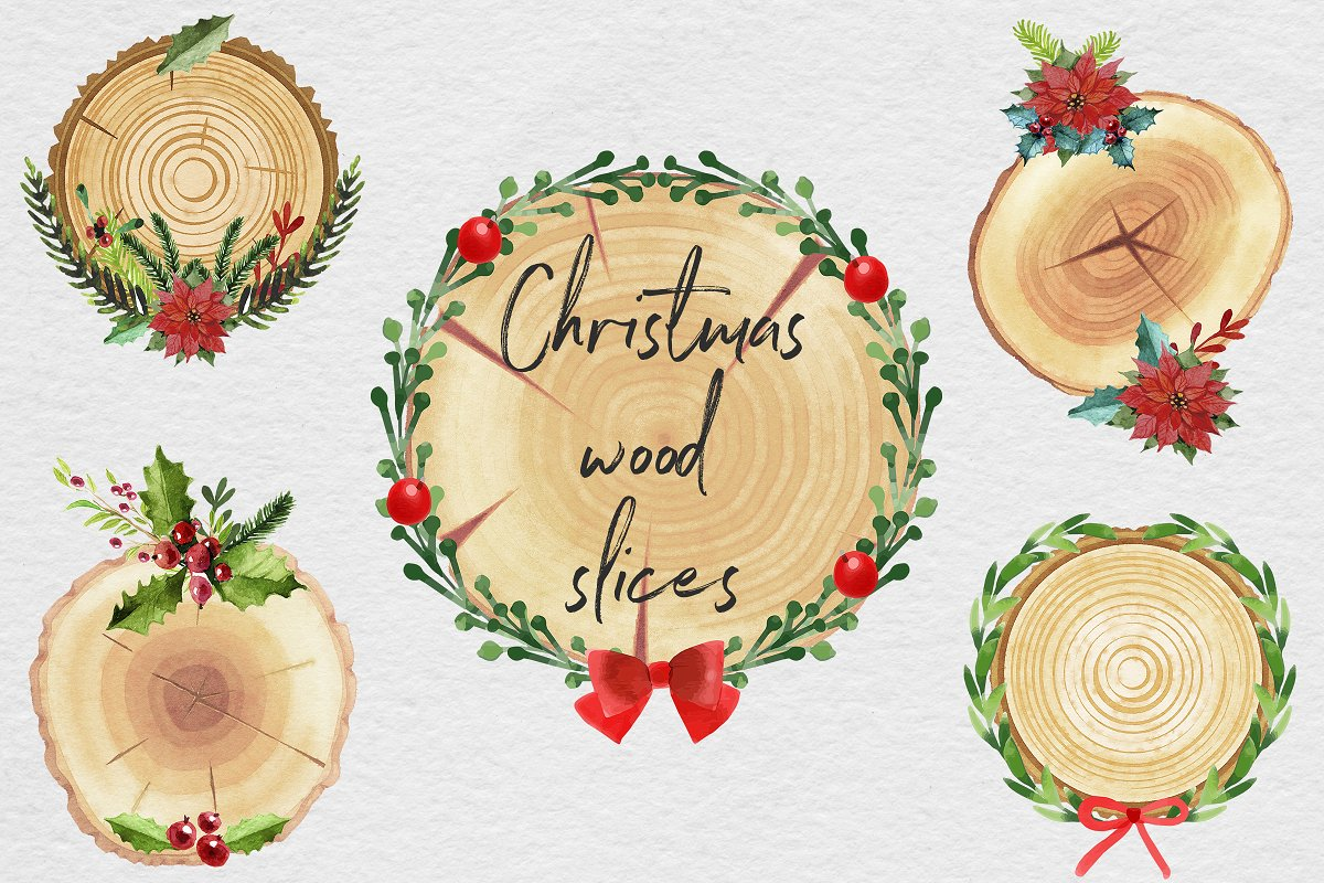 Christmas Wood Slices Clipart.