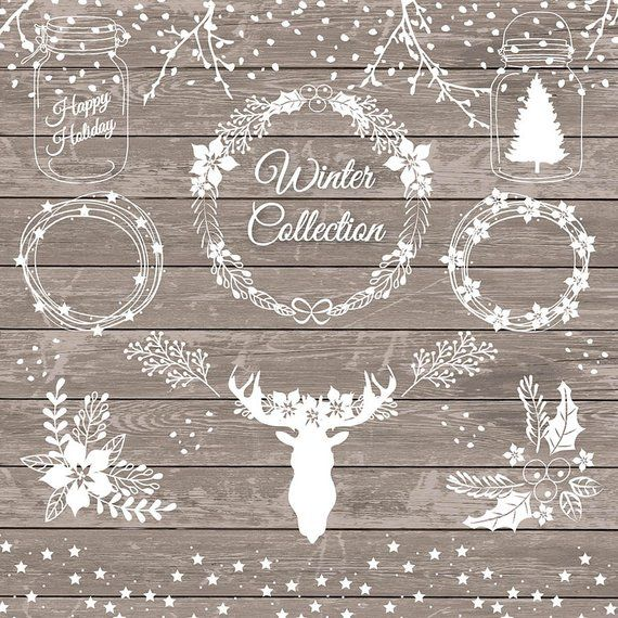 Premium VECTOR rustic christmas, xmas clipart, holiday, deer.
