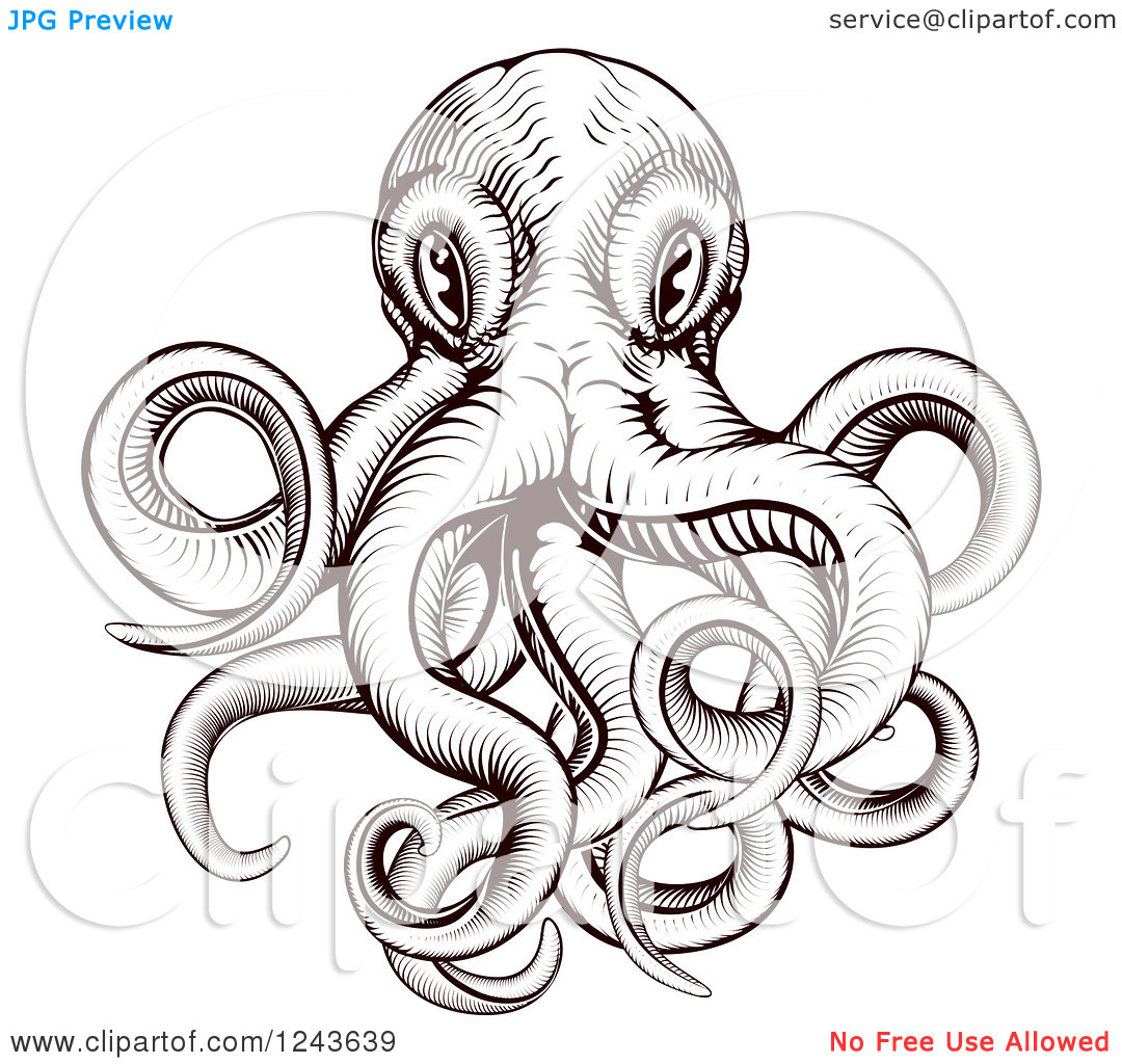 Clipart of a Brown Woodblock Octopus.
