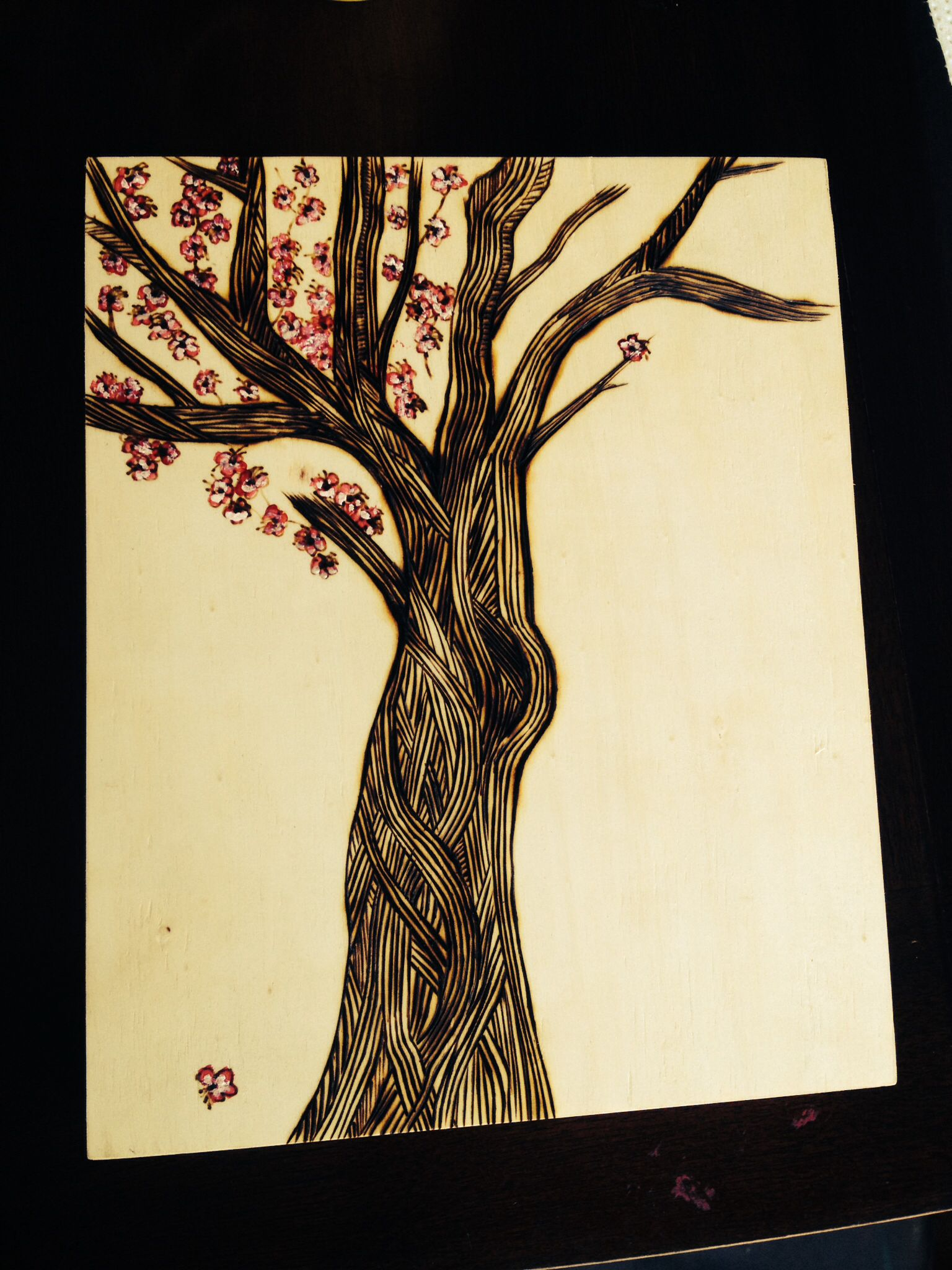 Cherry blossom woodburn and acrylic in 2019.
