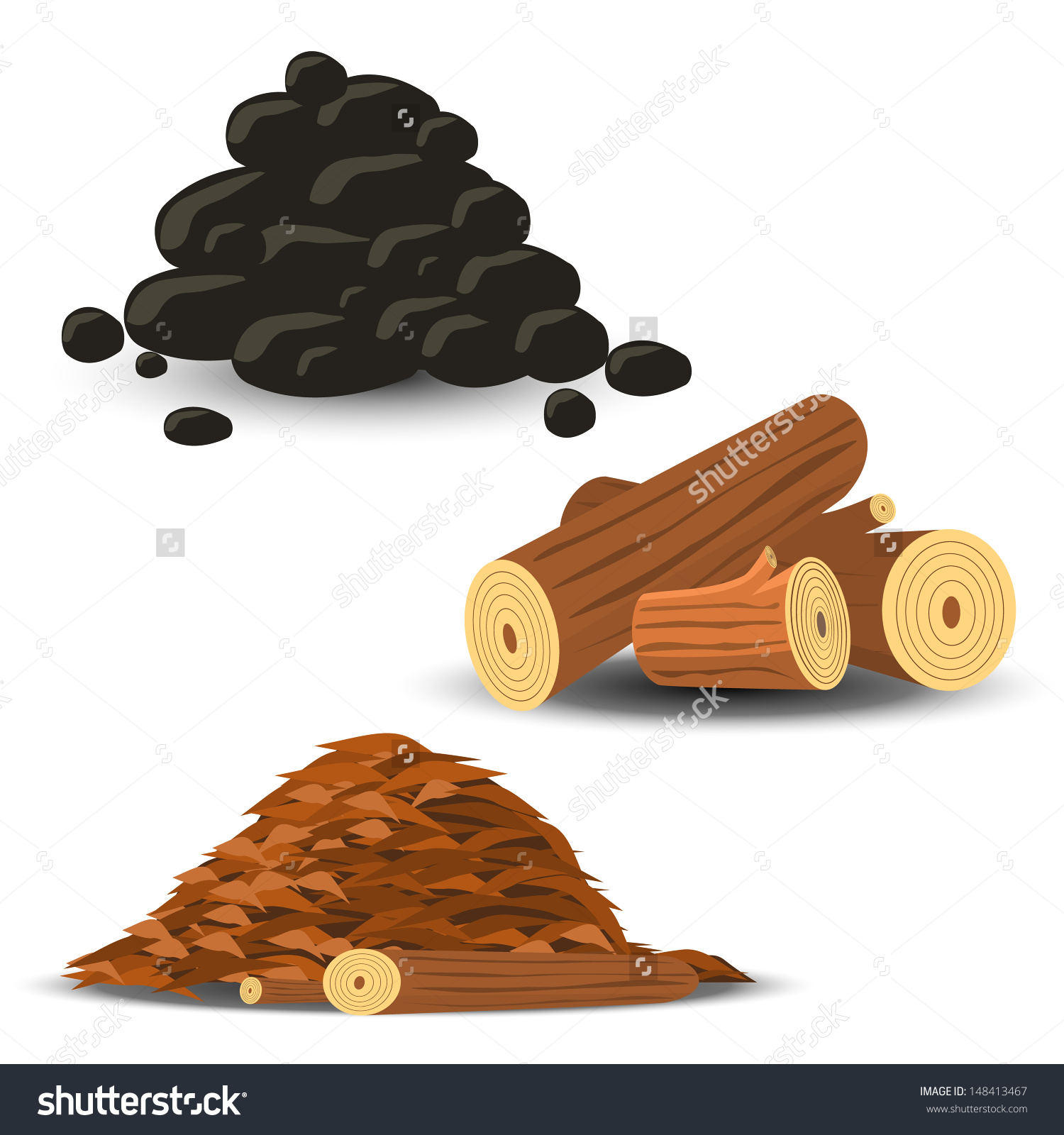 Firewood Wood Chips Coal Stock Vector 148413467.