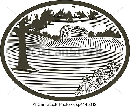 Vector Illustration of WoodCut With Barn Scene.