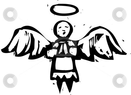 Woodcut Angel stock vector.