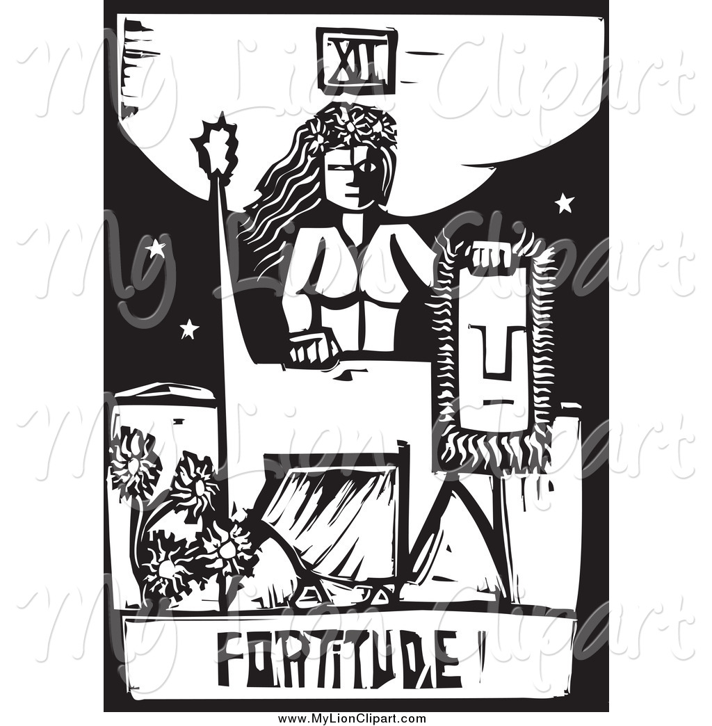 Clipart of a Black and White Woodcut Fortitude Tarot Card with a.