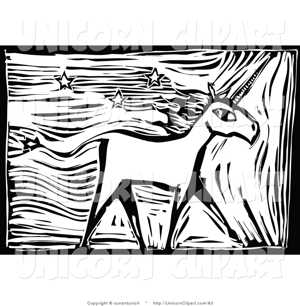 Fantasy Vector Clip Art of a Woodcut Unicorn and Stars by.
