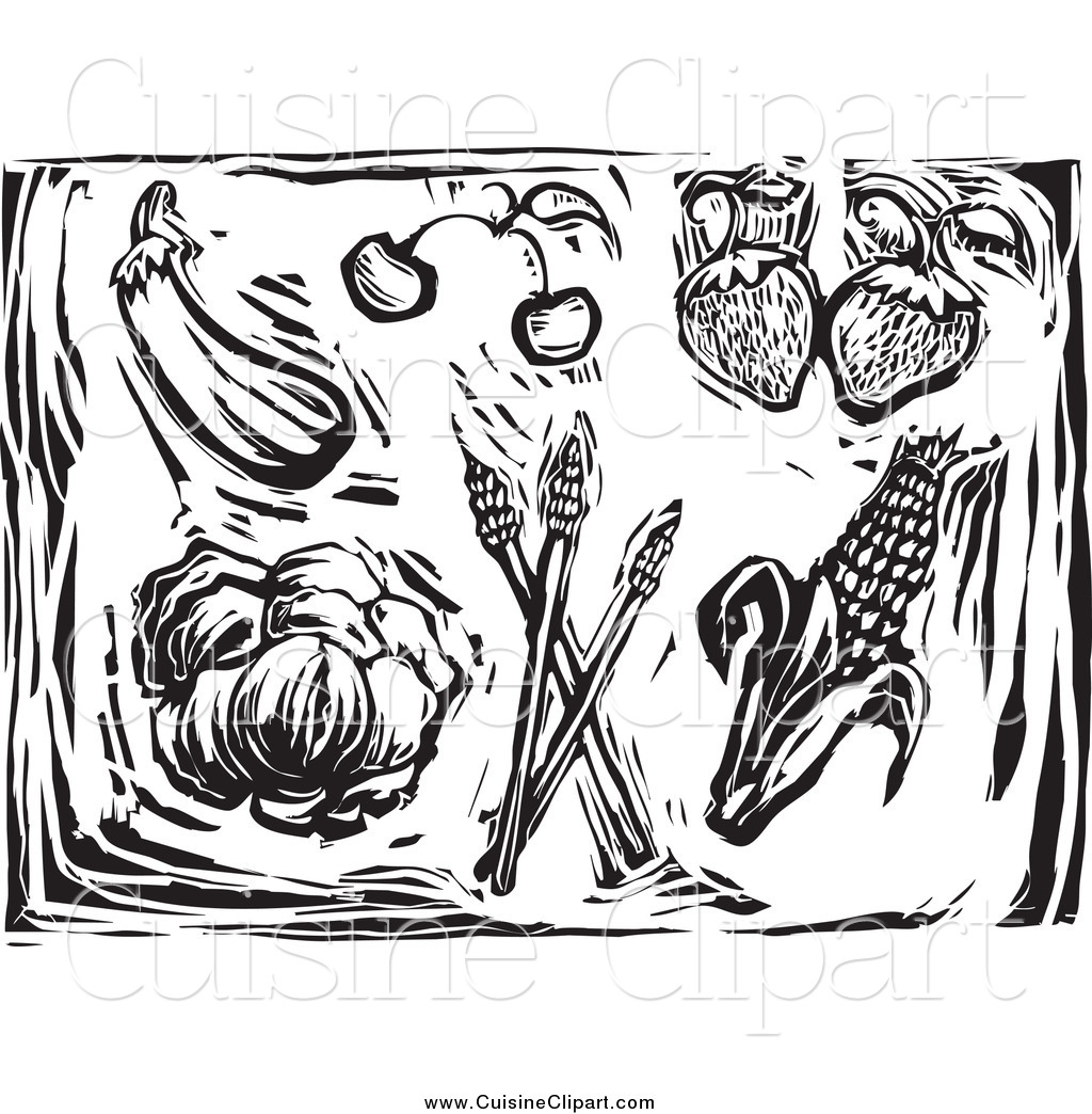 Cuisine Clipart of Woodcut Black and White Produce by xunantunich.