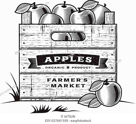 Crate apple woodcut Stock Photos and Images.