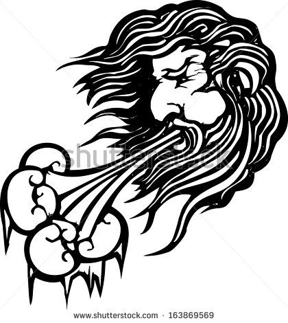 Woodcut style image of the the north wind face blowing cold.
