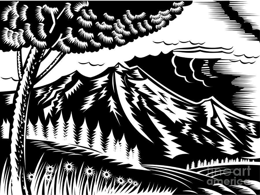 Mountain Scene Woodcut by Aloysius Patrimonio.