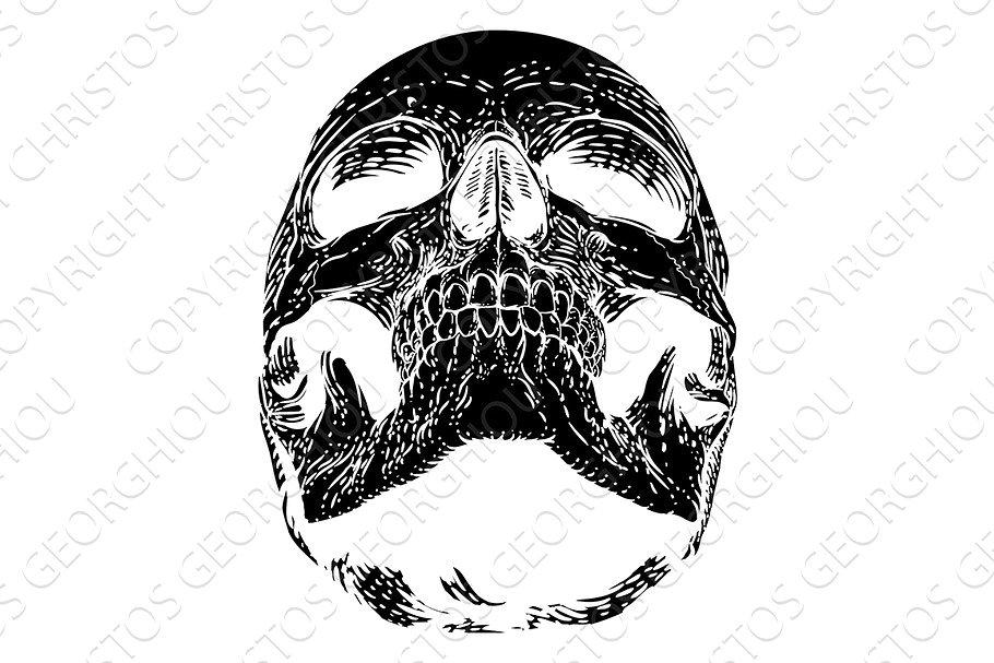 Skull Grim Reaper Vintage Woodcut.