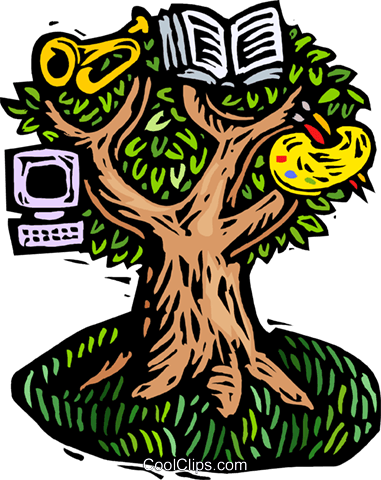 woodcut tree of creative knowledge Royalty Free Vector Clip.