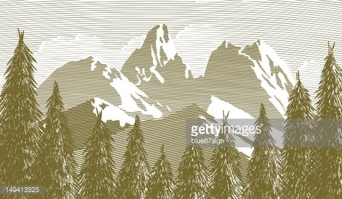 Woodcut Tree and Mountainscape premium clipart.