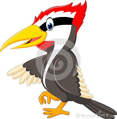 Woodpecker Bird Cartoon Illustration Stock Illustration.