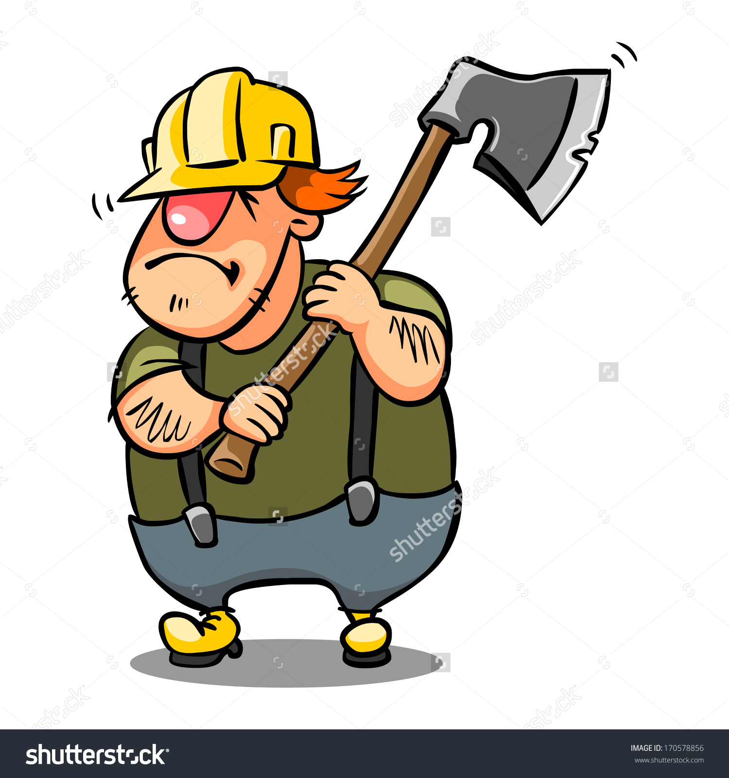 Woodcutter Yellow Helmet Ax On White Stock Vector 170578856.