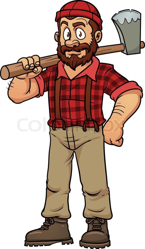 Cartoon lumberjack holding an axe.