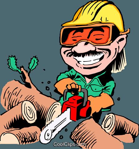 Cartoon woodcutter Royalty Free Vector Clip Art illustration.