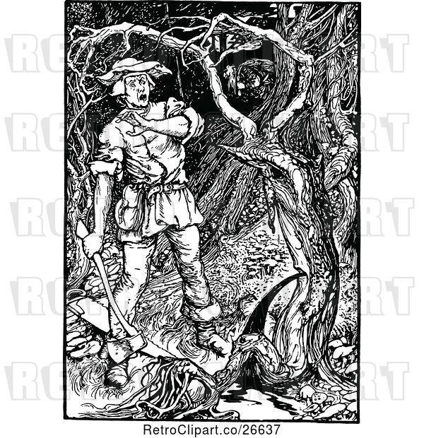 Vector Clip Art of Retro Scared Woodcutter and Tree Ent by.