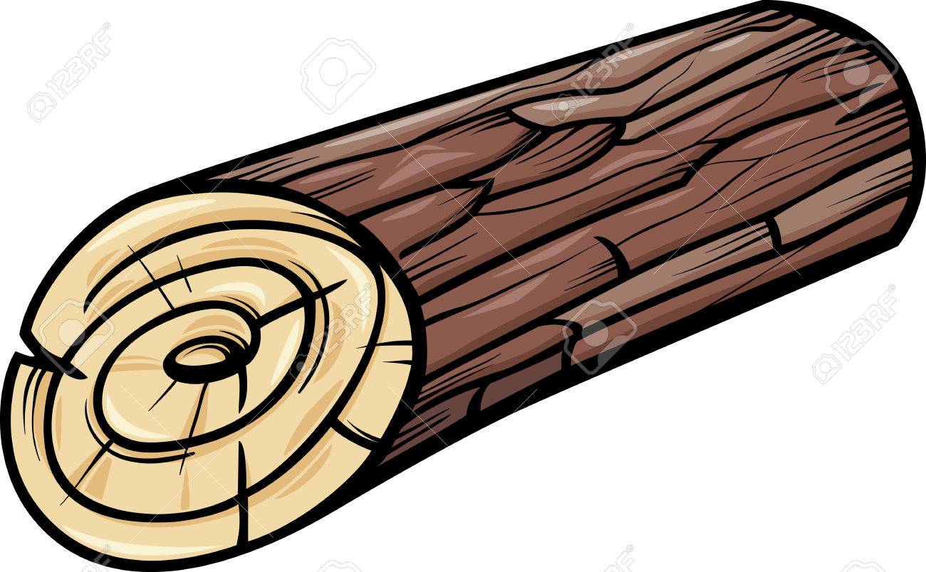 Cartoon Illustration Of Wooden Log Or Stump Clip Art Royalty Free.