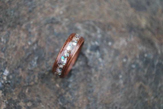 Abalone Wood Ring Wood Wedding Band Black by Wellsbaredesigns.