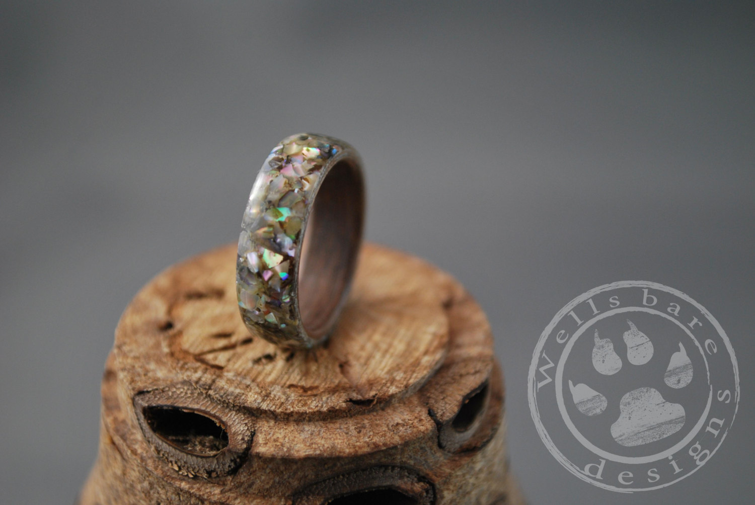 Abalone Wood Ring Bent Wood Ring Black Walnut Wood Ring by.