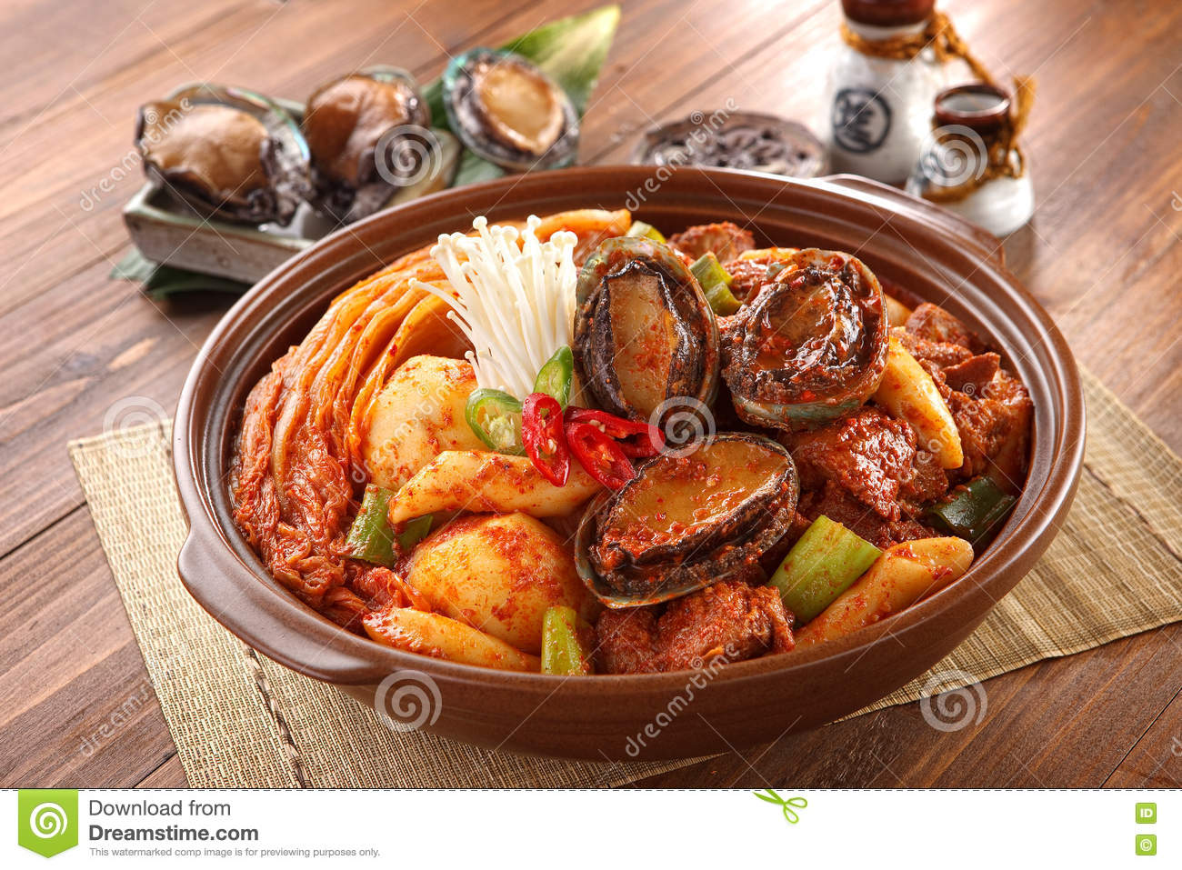 Big Bowl Of Abalone Kimchi Spicy Galbijjim With Potatoes, Beef.