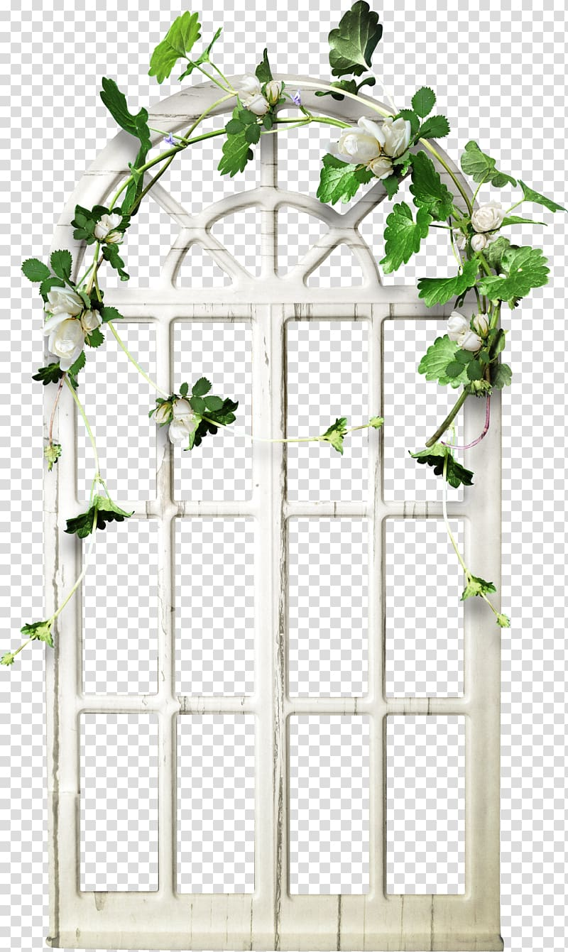 White wooden arch window frame with flowers accent.