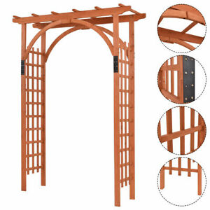 Details about Premium Outdoor Wooden Cedar Arbor Arch Pergola Trellis Wood  Garden Yard Lattice.