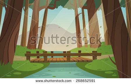 Wooden Bridge Side View Clipart.