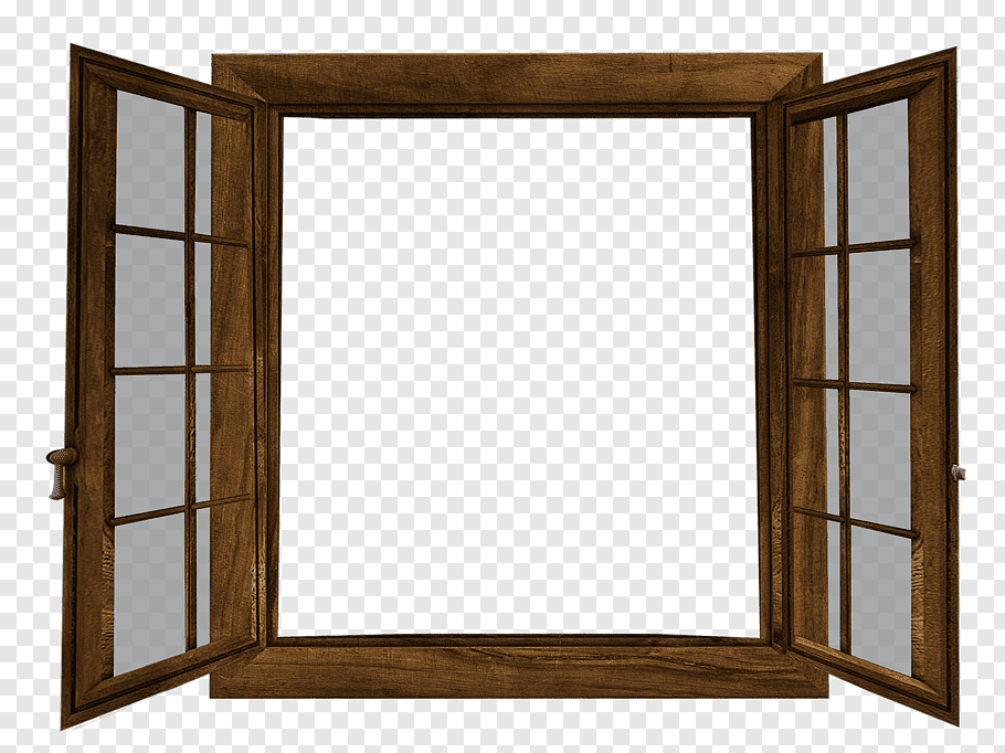 Brown wooden French window, Window Twin Double Hung Two.