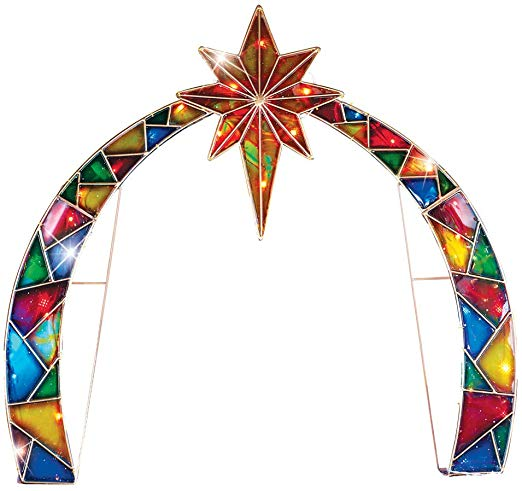 Collections Etc Lighted Outdoor Arch with Star of Bethlehem.