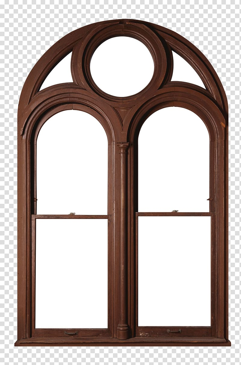 Brown wooden window illustration, Window frame Chambranle.