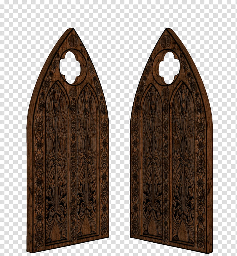 TWD Gothic Decor, brown wooden arch doors transparent.