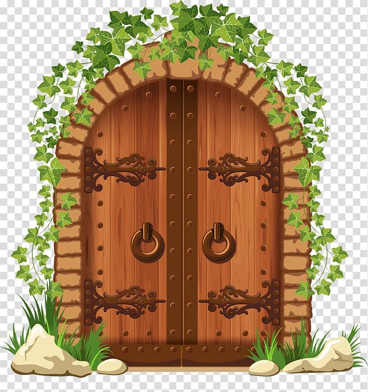 Stone wall Door Brick Arch, door transparent background PNG.