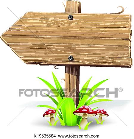 Wooden arrow on grass and mushroom. Clipart.