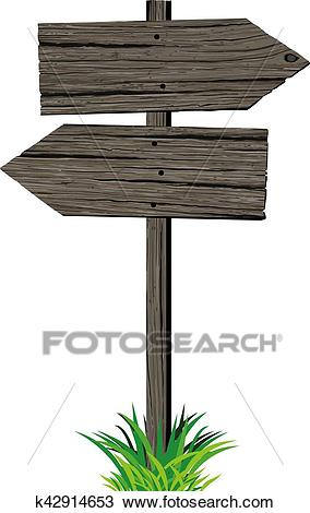 Wooden arrows road sign Clipart.