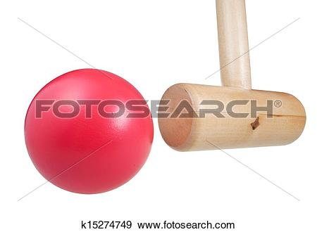 Stock Photograph of croquet wooden ball and mallet k15274749.