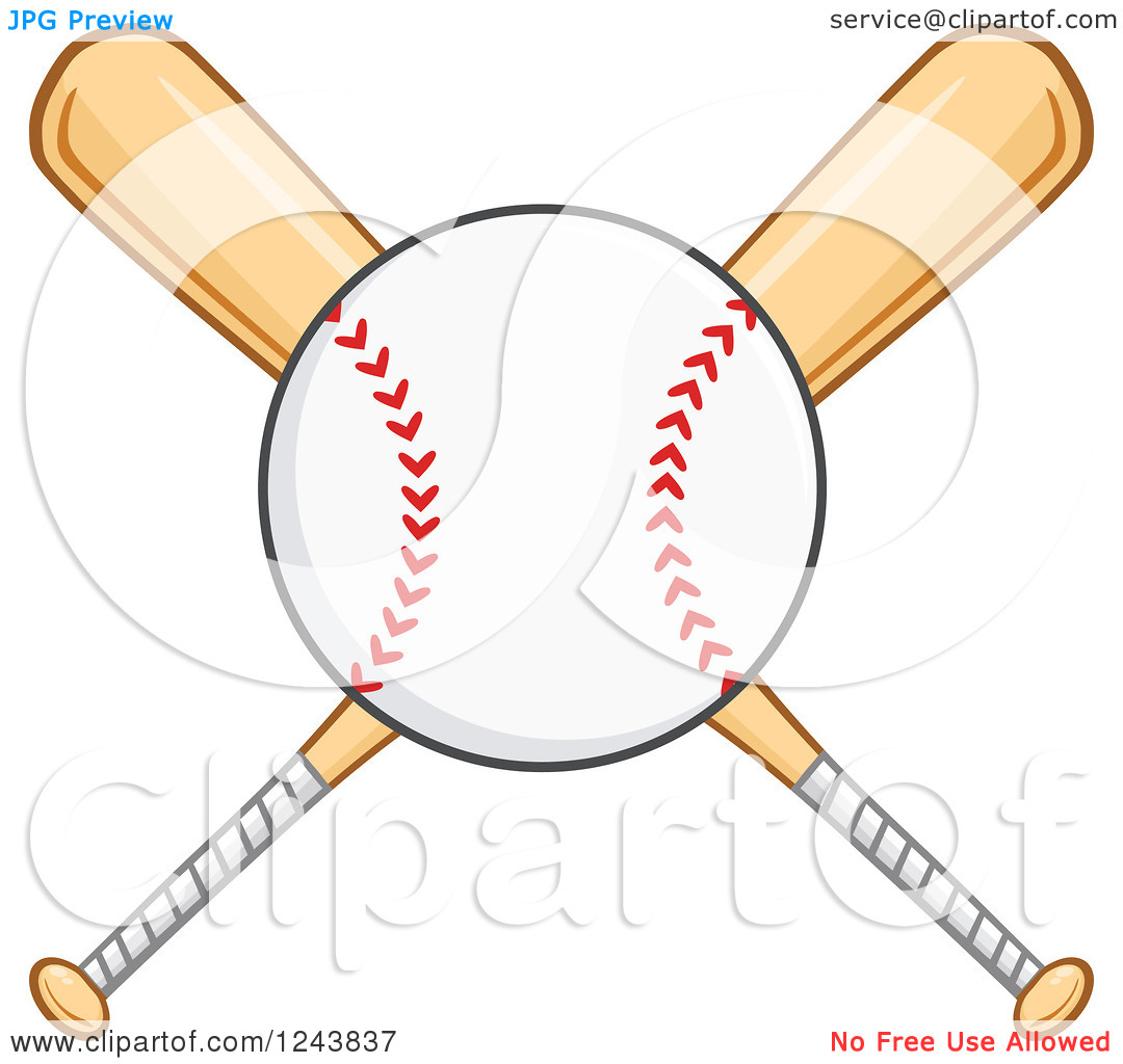 Clipart of Crossed Wooden Baseball Bats and a Ball.