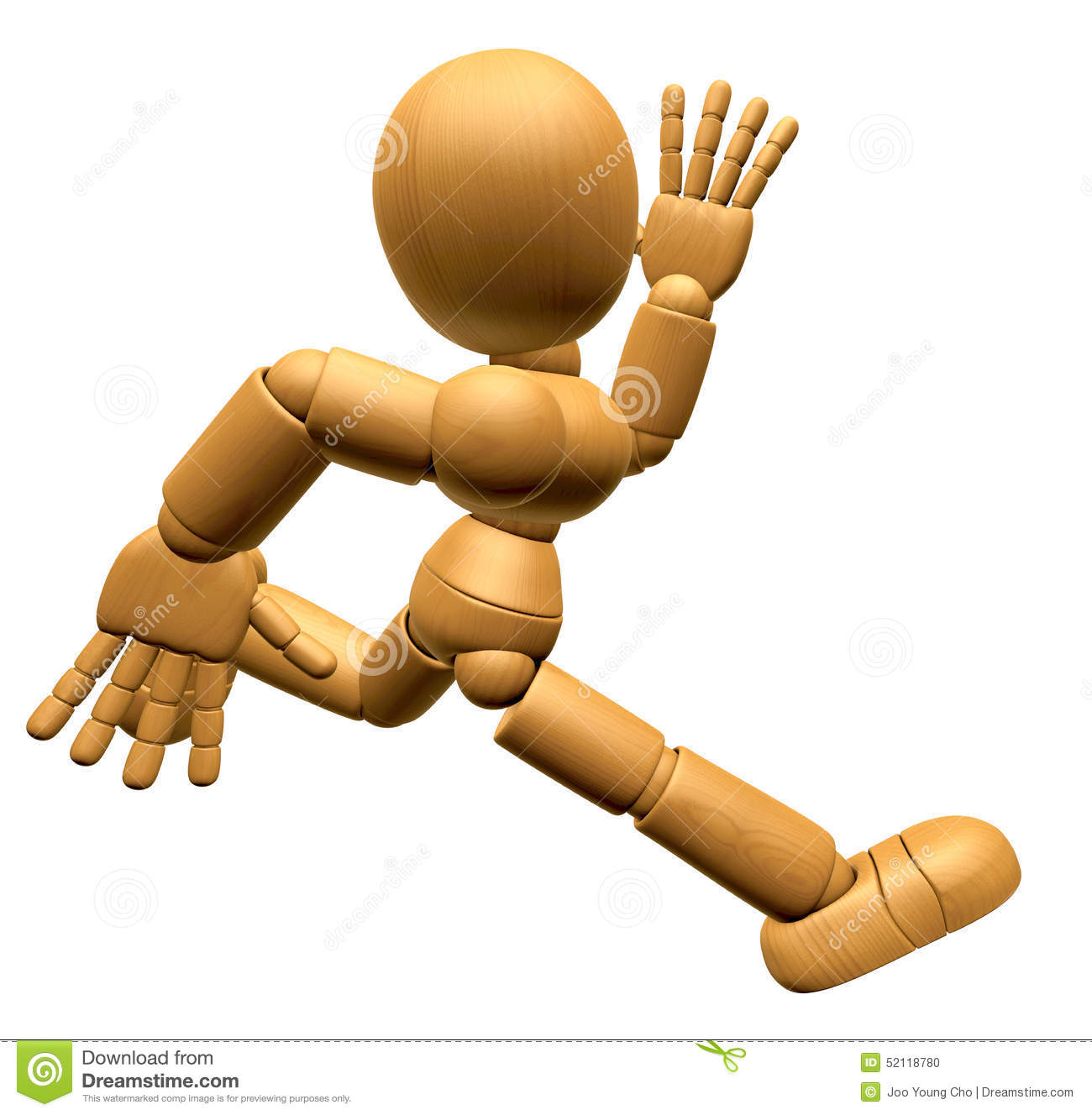 3D Wood Doll Mascot On Running. 3D Wooden Ball Jointed Doll Char.