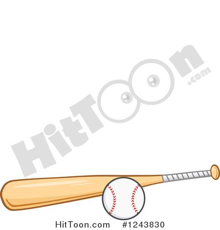 Baseball Clipart #1243830: Wooden Baseball Bat and Ball by Hit Toon.