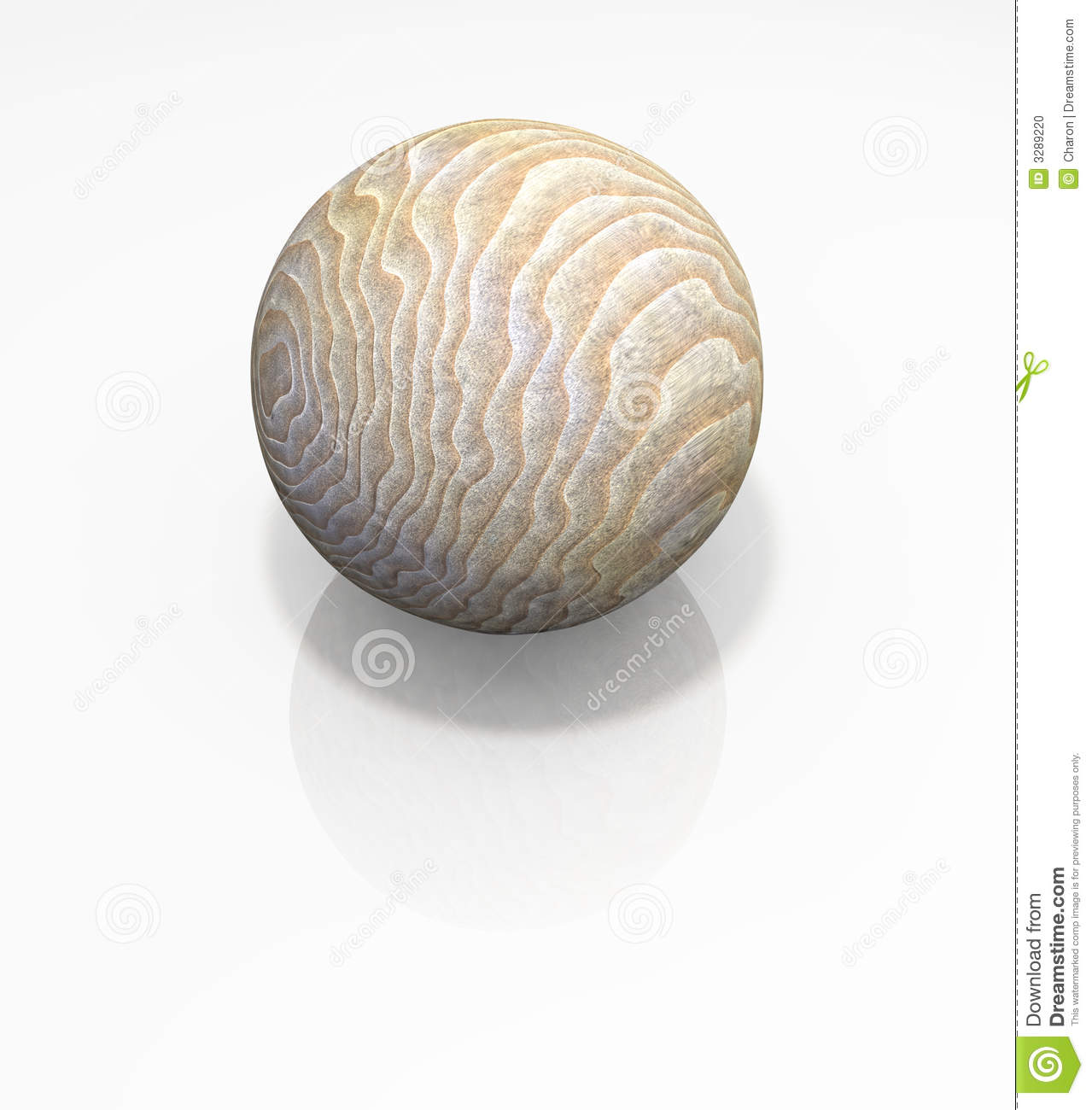 Wood Ball Solid Sphere Isolated Stock Photo.