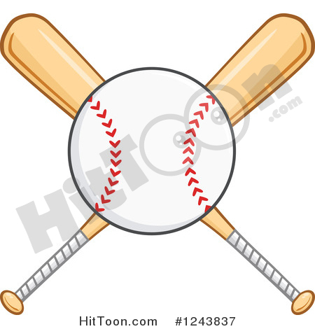 Baseball Clipart #1243837: Crossed Wooden Baseball Bats and a Ball.